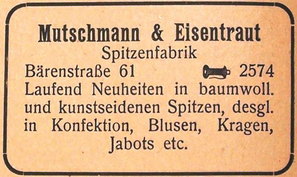 Einer von hunderten Plauener Textilfabrikanten: Annonce im Adressbuch von 1919/ 1920