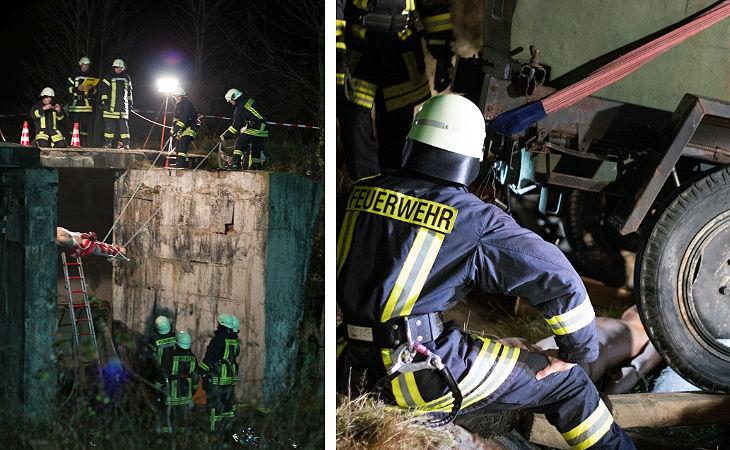 Katastrophenschutzzug und THW Plauen üben Ernstfall
