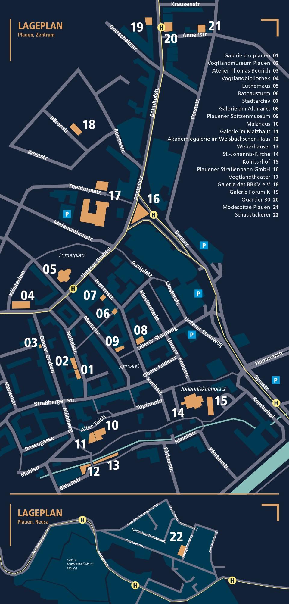 Museeumsnacht Plauen: Lageplan