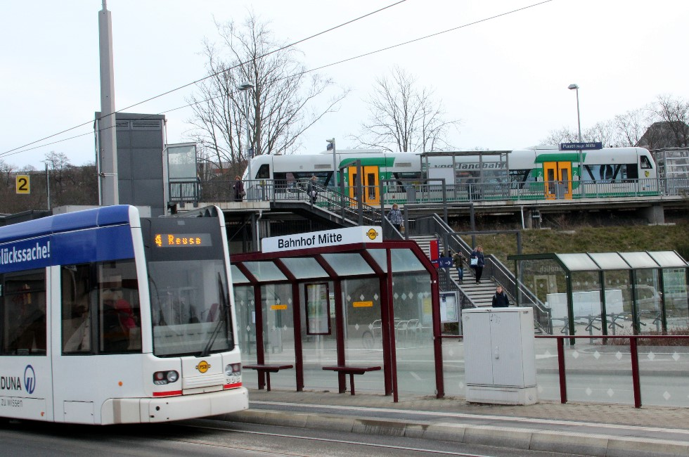 Plauen ist das Nahverkehrs-Drehkreuz im Vogtland