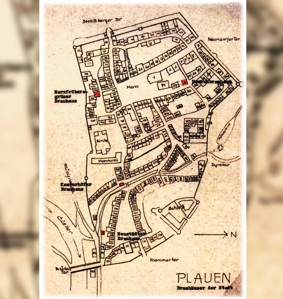 Plauener Bierproduktion - Vier Häuser besaßen das Recht zum Brauen Zeichnung Karl-Werner Steube 1964 Stadtarchiv Plauen