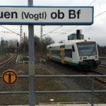 Vogtlandbahn am Oberen Bahnhof in Plauen. Foto: Spitzenstadt.de/Archiv