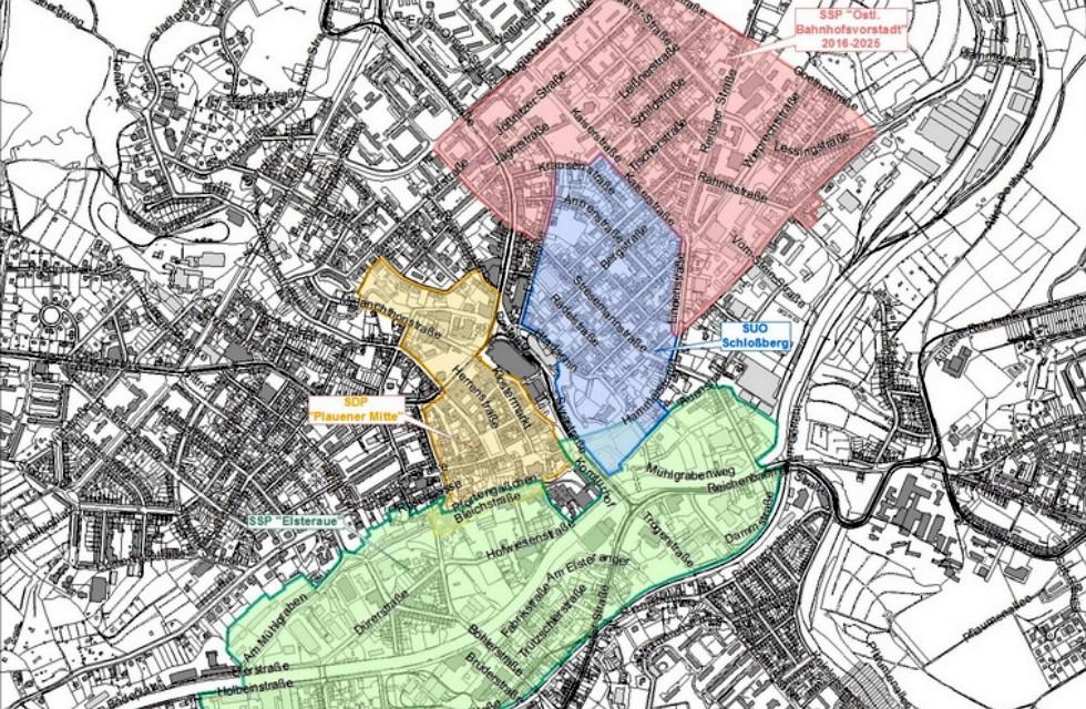 Förderfähige Projekte in vier Stadtgebieten von Plauen
