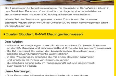 Dualer Student m/w im Bauingenieurwesen gesucht