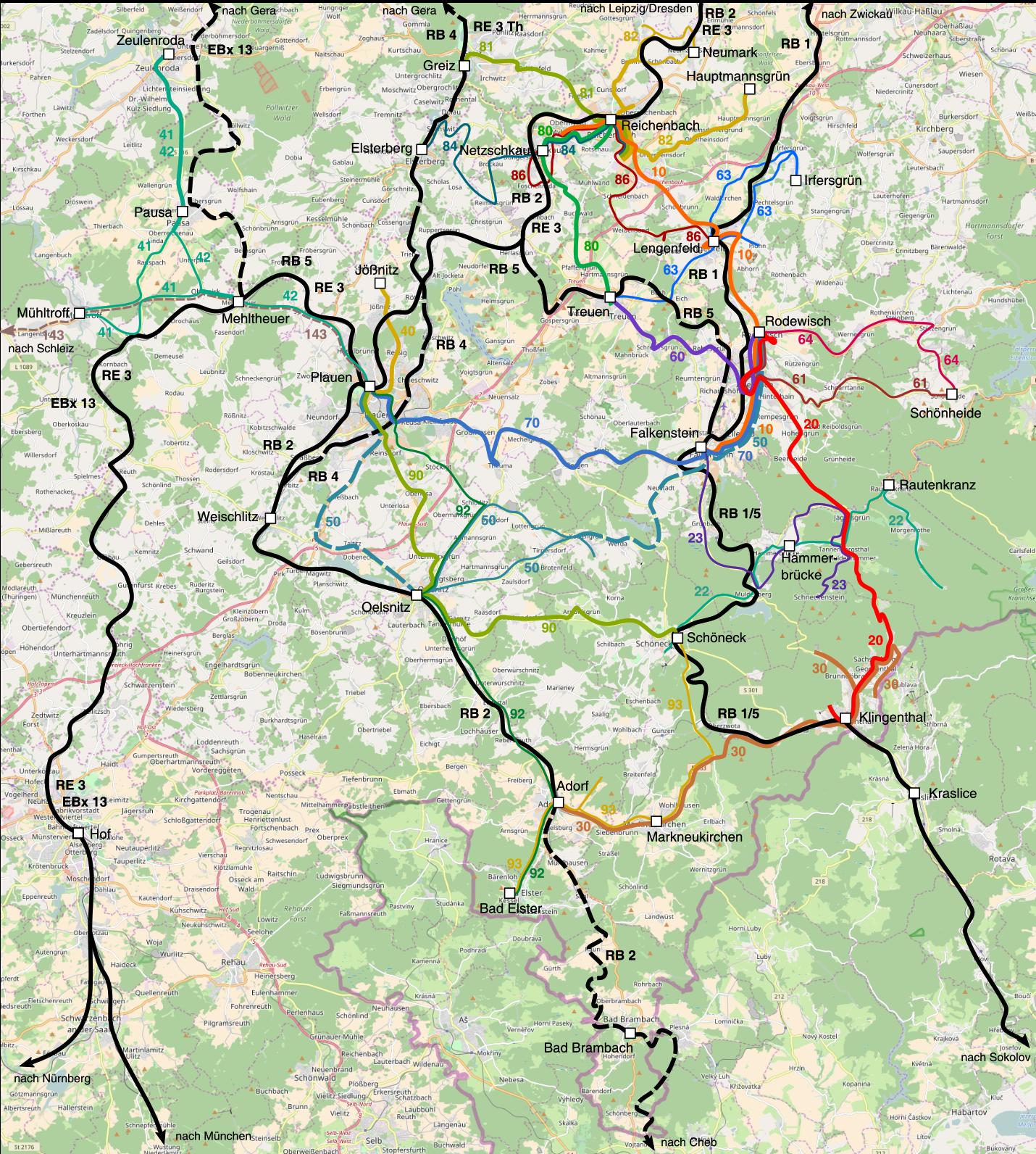 Plusbusnetz Vogtland - Überblick mit Topografie