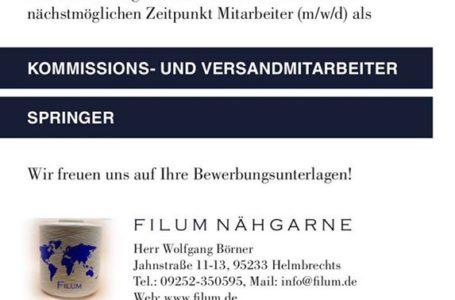 Kommissions- und Versandmitarbeiter & Springer m/w/d gesucht