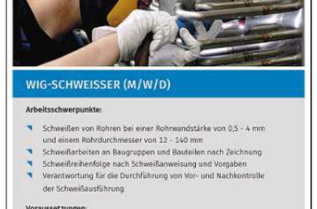 WIG-Schweißer m/w im Heinsdorfergrund gesucht