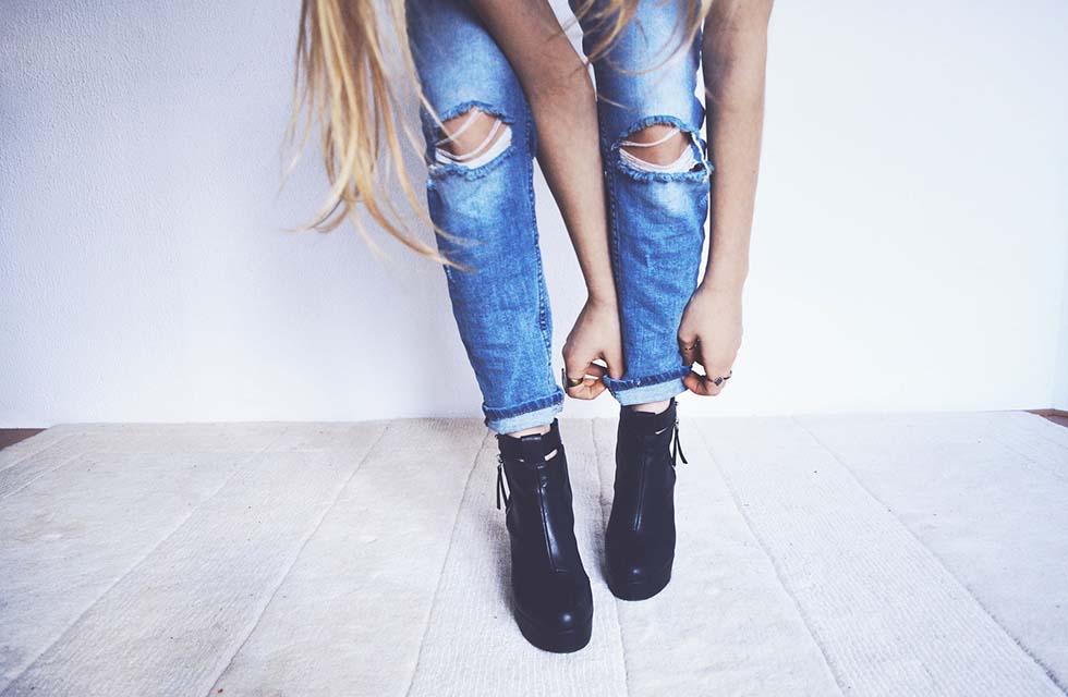 Jeans-Schuhe-Frau