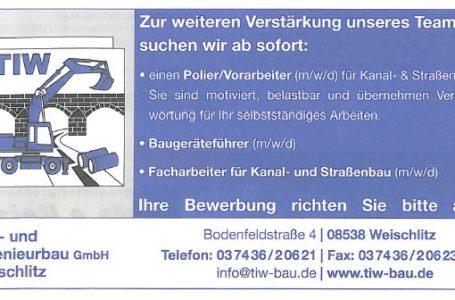 Polier m/w/d & Baugeräteführer m/w/d & Facharbeiter für Kanal- und Straßenbau m/w/d gesucht