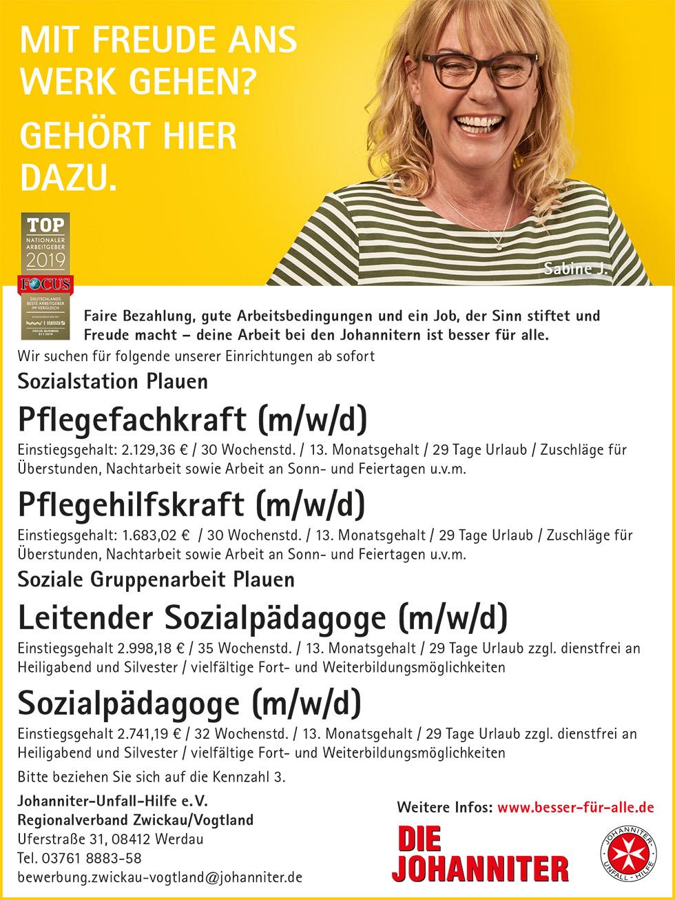 Stellenanzeige-Johanniter-Spitzenjobs-Pflegekraft-Sozialpädagoge-Vogtland