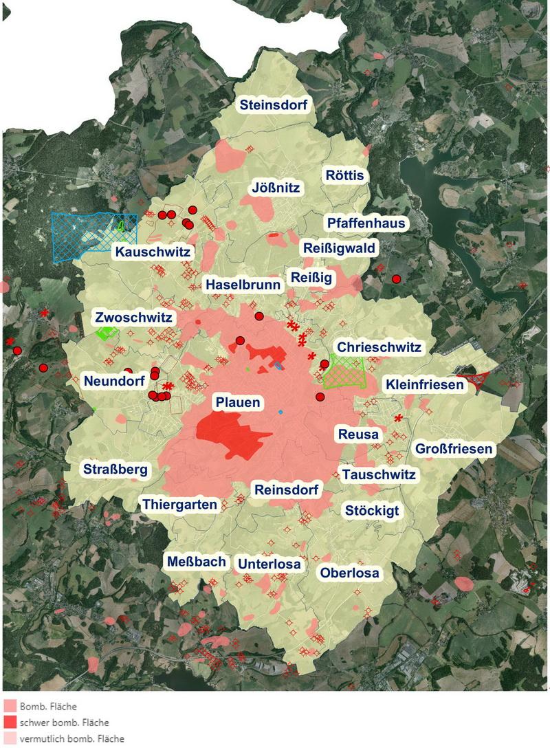 Die Karte zeigt die Verdachtsflächen in Plauen