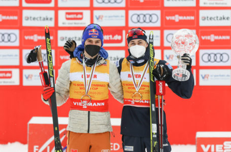 Die beiden besten Kombinierer der Saison: Jarl Magnus Riiber (rechts) und Vinzenz Geiger. Foto: VSC / Konstanze Schneider